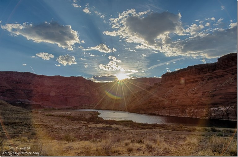 sun rays Echo Cliffs Colorado River from camp Lee's Ferry Glen Canyon National Recreation Area Arizona