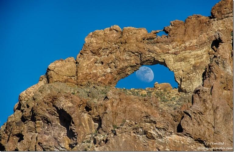 Moon thru arch Ajo Mountain Drive Organ Pipe Cactus National Monument Arizona