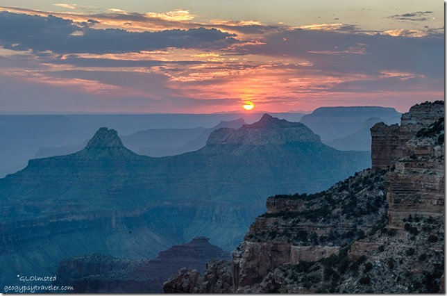 sunset temples from Cape Royal North Rim Grand Canyon National Park Arizona