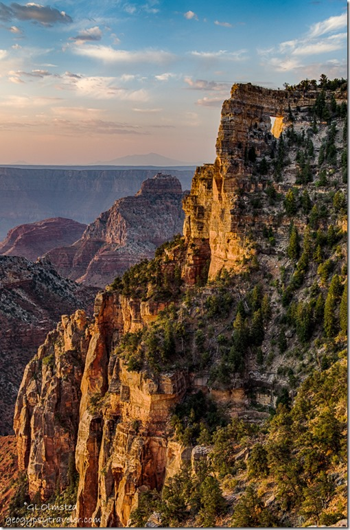 morning light Angels Window Vishnu Temple Humphrey Peak North Rim Grand Canyon National Park Arizona