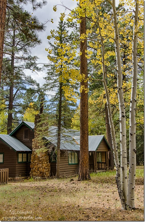 Ranger cabin fall aspen North Rim Grand Canyon National Park Arizona
