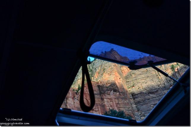 Canyon walls thru shuttle skylight Zion National Park Utah