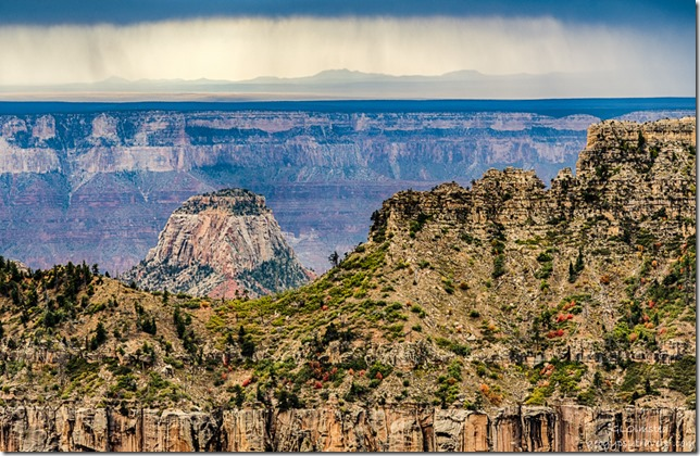 Isis Temple storm over South Rim from Transept trail North Rim Grand Canyon National Park Arizona