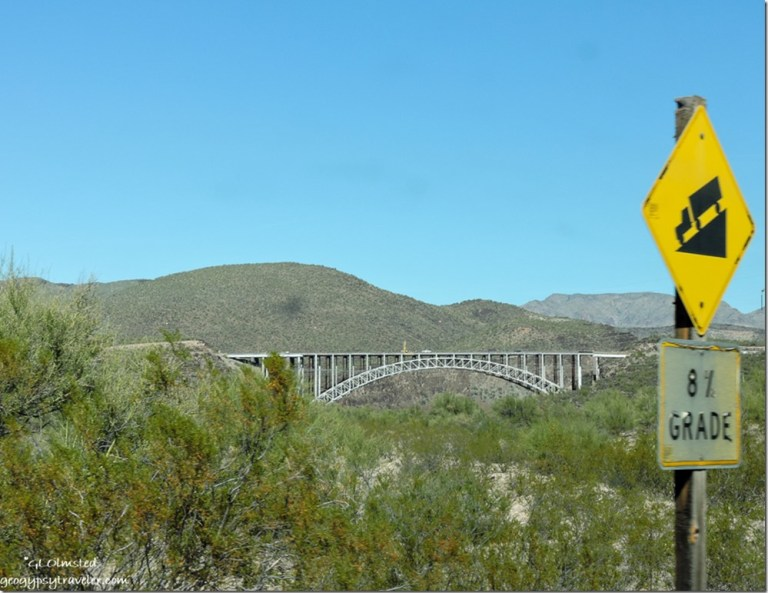 8% grade sign high bridge US93 road to Burro Creek campground Arizona