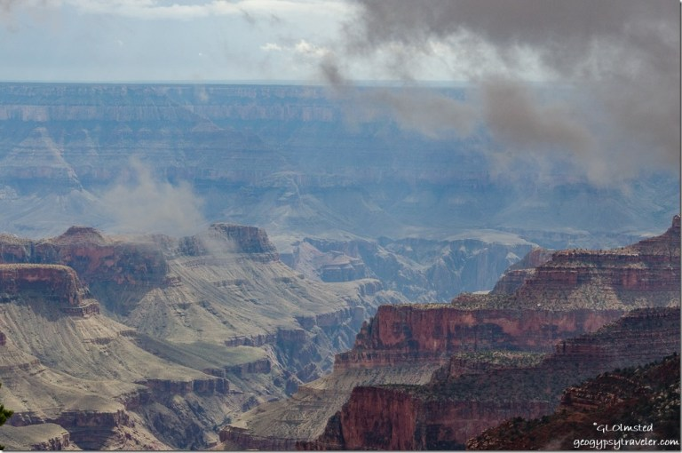 Low clouds over canyon from Lodge North Rim Grand Canyon National Park Arizona