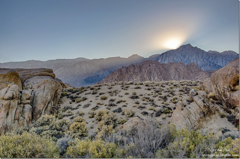 sunset rays Lone Pine Peak Alabama Hills BLM Lone Pine California