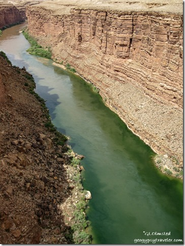 Mud flash in Colorado River from Navajo Bridge Hwy 89A Arizona