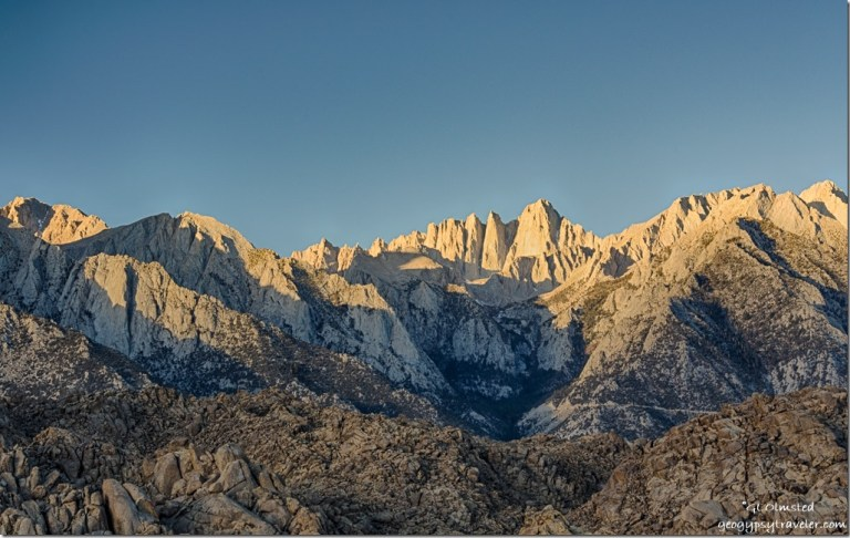 early light Mount Whitney Eastern Sierras Alabama Hills Lone Pine California