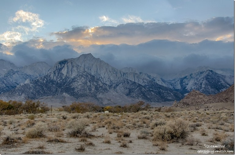 trees boulders Eastern Sierras low clouds sunset Alabama Hills Lone Pine California