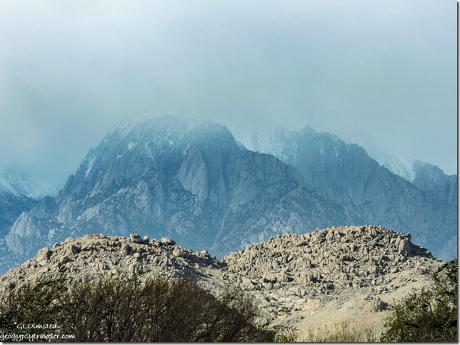 Eastern Sierras snow low clouds Alabama Hills Lone Pine California