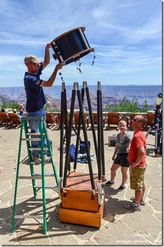 Setting up telescopes Lodge veranda Star Party North Rim Grand Canyon National Park Arizona