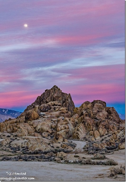 boulders snow Inyo Mountains sunset moon Alabama Hills BLM Lone Pine California