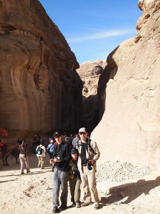 GeoKs at the entrance to the Siq, Petra