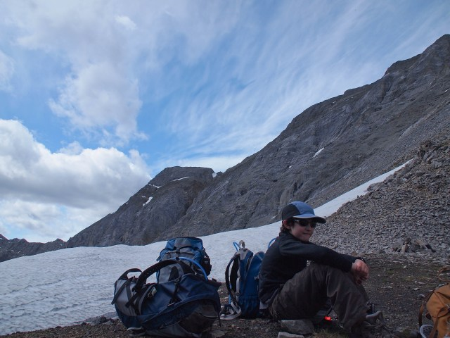 Youngest GeoKid enjoys a rest at the saddle between Mount Tyrwitt and Grizzly Col