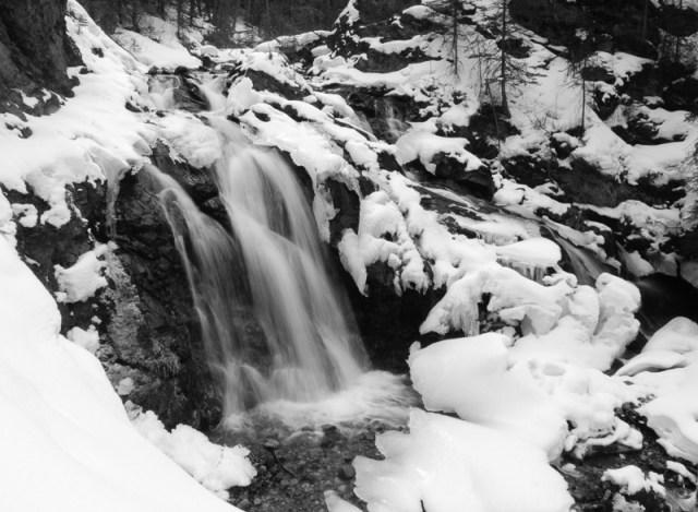 Three Sisters Creek waterfall in B&W