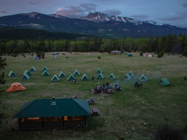 Not-quite bird's eye view of the Marmot Meadows campsite