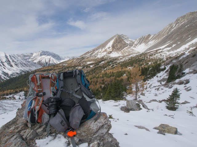 The first time we used our CapturePRO Camera Clips was hiking Arethusa Cirque in late October. In this photo, Mr. GeoK's pack shows an empty clip and Mrs. GeoK's pack shows her camera mounted to the clip.