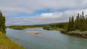 The Bow River viewed from the embankment at Prospect Heights.