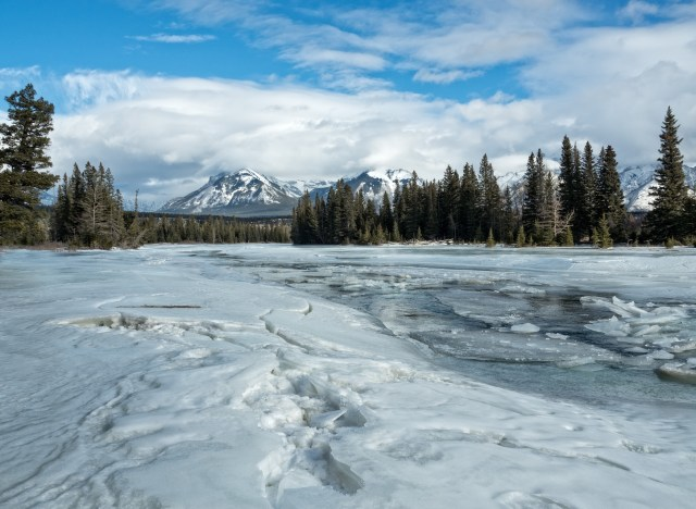 Ice on the Bow River near Banff