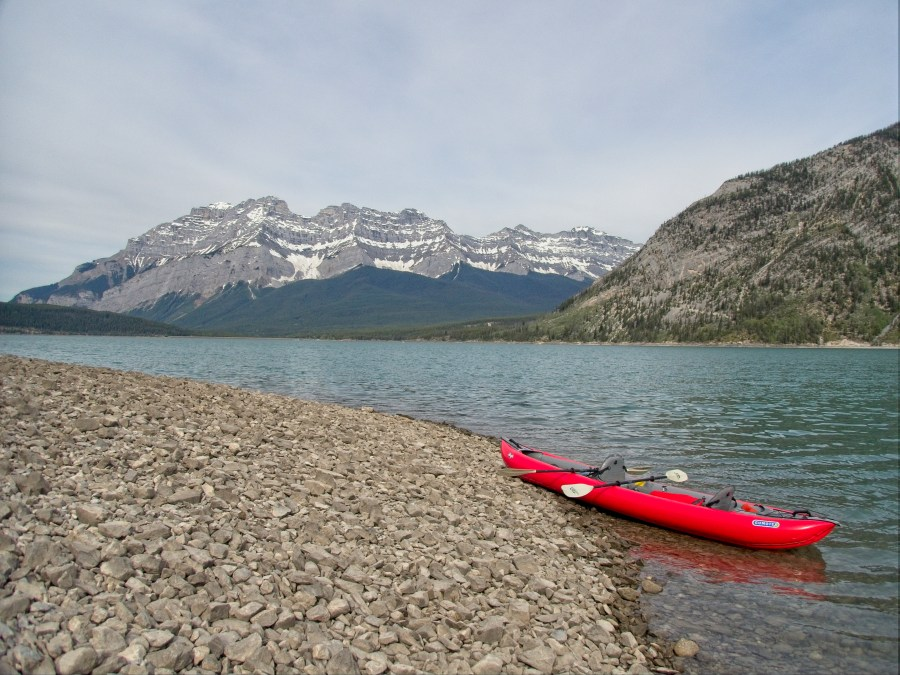 kayak on the shore of Lake Minnewanka