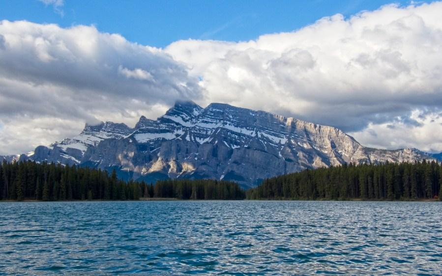 Mount Rundle from kayaking Two Jack Lake