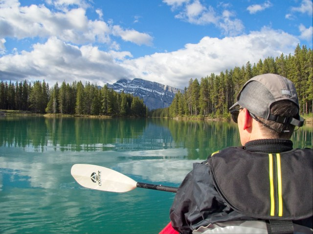 Kayaking Two Jack Lake into Two Jack Canal