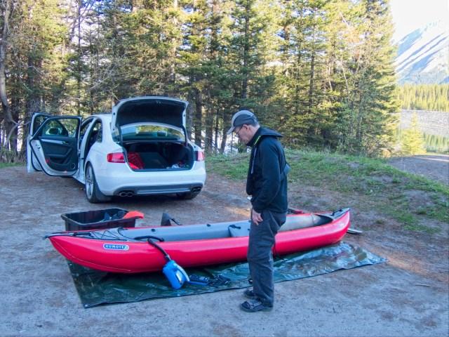 inflating the kayak