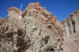 Conglomerate in Furnace Creek Wash. Arrow points to conglomerate boulder (right)