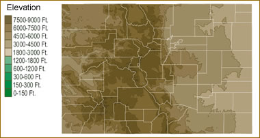 Map of Colorado Lakes  Streams and Rivers Colorado elevation map