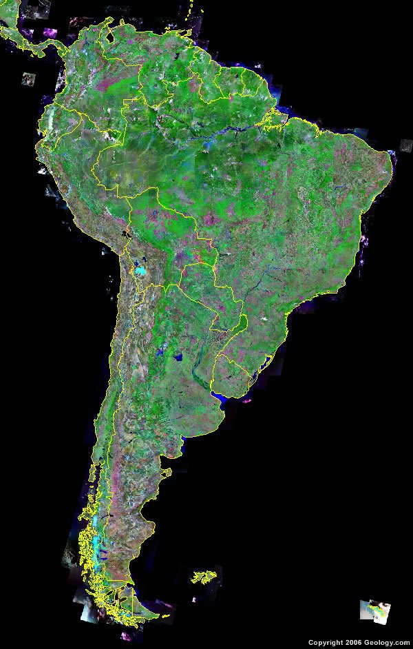 South America Map and Satellite Image South America satellite photo