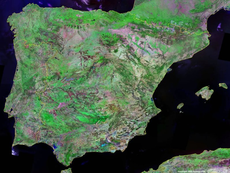 Spain Map and Satellite Image Spain satellite photo