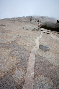 Aplite dike and glacial striations in granitic rock.