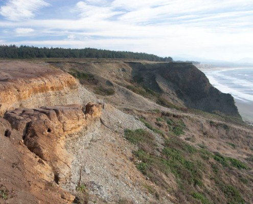 Headwall of a landslide: Cape Blanco, Oregon