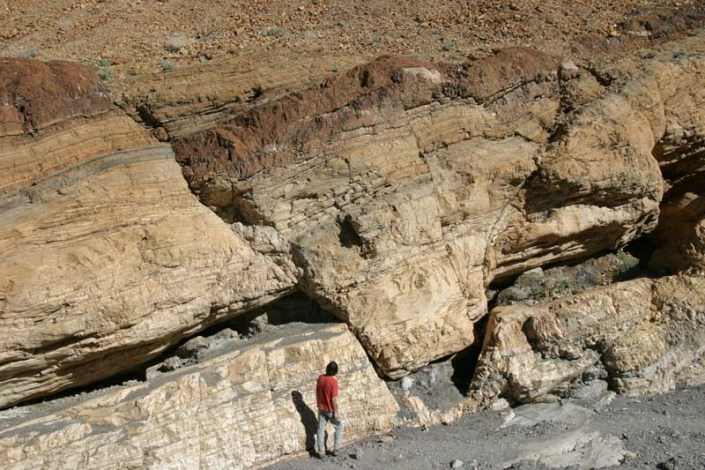 Normal faults in marble. Mosaic Canyon