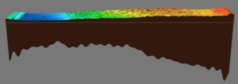 This image shows the elevations in the Martian landscape and the crustal thickness below.