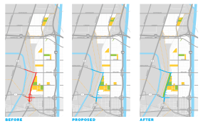 Map showing plans for Terminal Island Freeway. Image from blog.archpaper.com