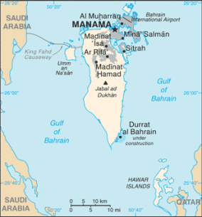 Close-up map of Bahrain. Image from Wikipedia.org