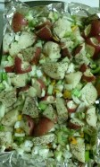 Red potatoes with veggies before cooked. Photo by Laylita Day