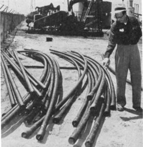 Oil Well Tubing Deformation. Horizontal movement of the earth as a result of subsidence caused deformation of these pipes. Image from Shoemaker and Thorley 1955.