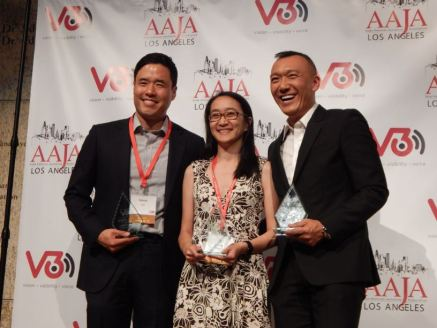 Friday reception at V3Con. Randall Park, Dao Nguyen and Joe Zee. Photo by Laylita Day.