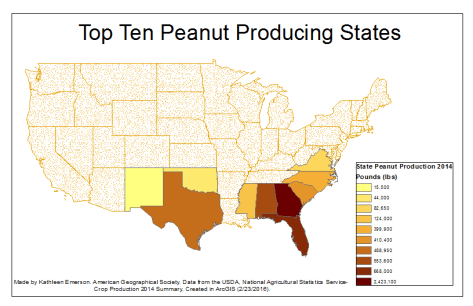 Map showing peanut production in the US. Image from Google Images.