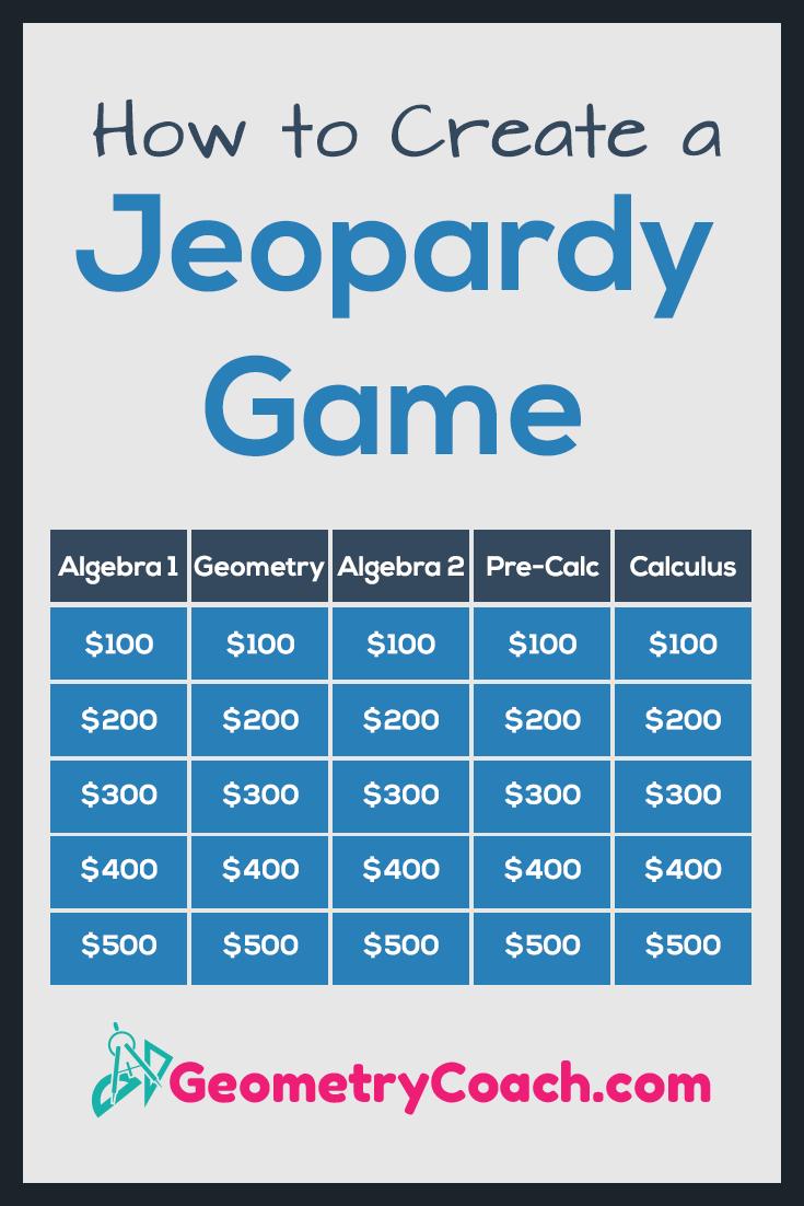 How to Create a Jeopardy Game - GeometryCoach com