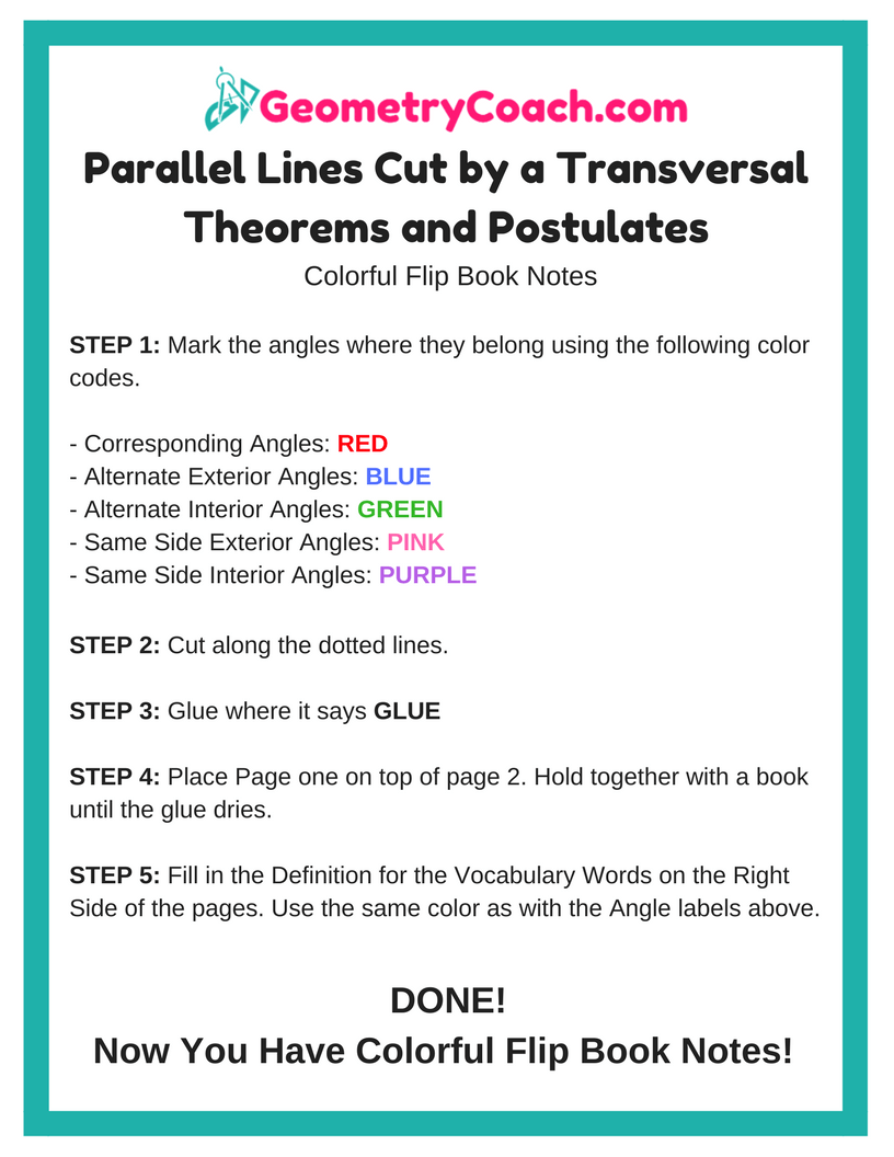 Parallel Lines Cut by a Transversal Flip Book Notes