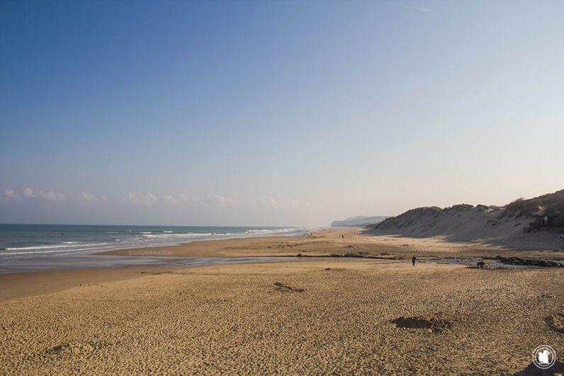 Vue sur l'étendu de plage des Deux Caps depuis Wissant.