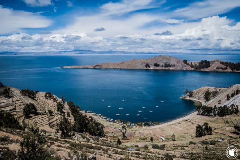 Vue depuis notre chambre sur l'Isla del Sol