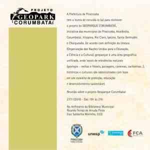 Convite Caravana Geopark em Piracicaba - 27 de novembro terça feira, às 19h no anfiteatro da Biblioteca de Piracicaba. Apoio Unesp, Unicam, Consórcio PCJ, Serra do Itaqueri e Prefeitura de Piracicaba