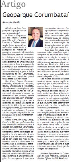 Artigo de Alexandre Carille, presidente da Comissão de Meio Ambiente, Ecologia e Direitos Difusos da OAB de Rio Claro sobre o Projeto Geopark Corumbataí.