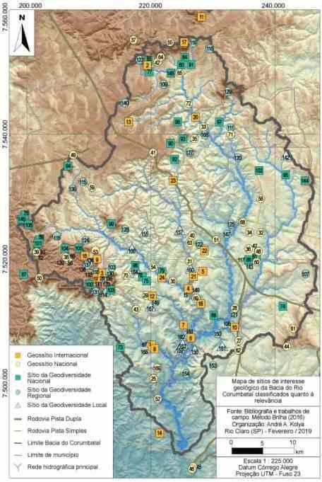 Entre os resultados do projeto, diversos mapas apresentando e classificando o geopatrimônio do Geopark Corumbataí. Na imagem, mapa dos 170 sítios de interesse geológico inventariados na região do Projeto Geopark Corumbataí.