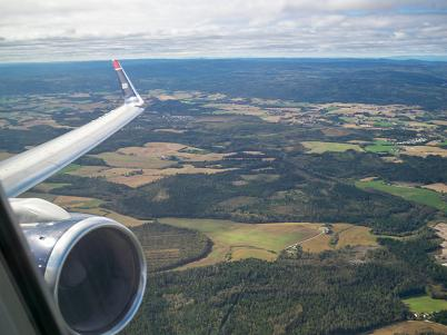 Flying out of Oslo.