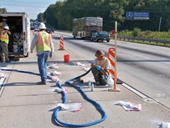 Using TerraThane products for lifting concrete pavement of I-85 in Atlanta, a Hayward Baker project.